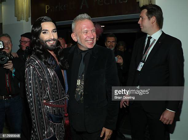 Conchita Wurst and Jean Paul Gaultier 'THE ONE Grand Show' premiere at FriedrichstadtPalast on October 6 2016 in Berlin Germany