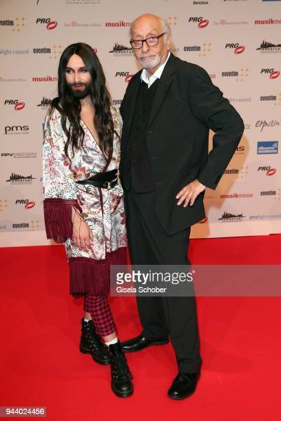 Conchita Wurst and Karl Dall during the 13th Live Entertainment Award 2018 at Festhalle Frankfurt on April 9 2018 in Frankfurt am Main Germany