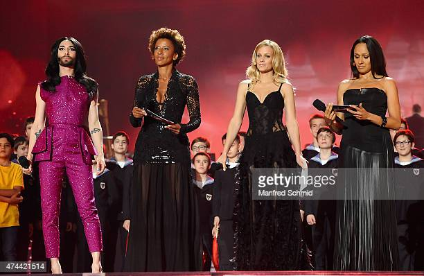 Conchita Wurst, Arabella Kiesbauer, Mirjam Weichselbraun and Alice Tumler perform on stage during rehearsals for the final of the Eurovision Song...