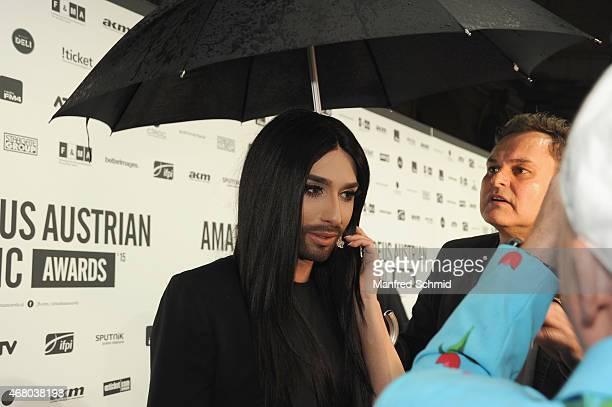 Conchita Wurst arrives at the Amadeus Austrian Music Awards 2015 at Volkstheater on March 29 2015 in Vienna Austria