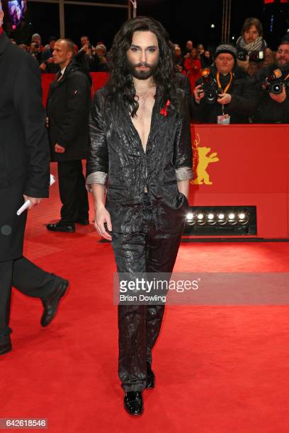 Conchita Wurst arrives for the closing ceremony of the 67th Berlinale International Film Festival Berlin at Berlinale Palace on February 18 2017 in...