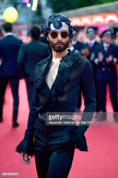 Conchita Wurst arrives for the Life Ball 2017 at City Hall on June 10, 2017 in Vienna, Austria.