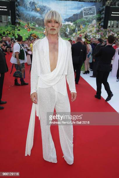 Conchita Wurst arrives for the Life Ball 2018 at City Hall on June 2 2018 in Vienna Austria The Life Ball an annual charity event raising funds for...