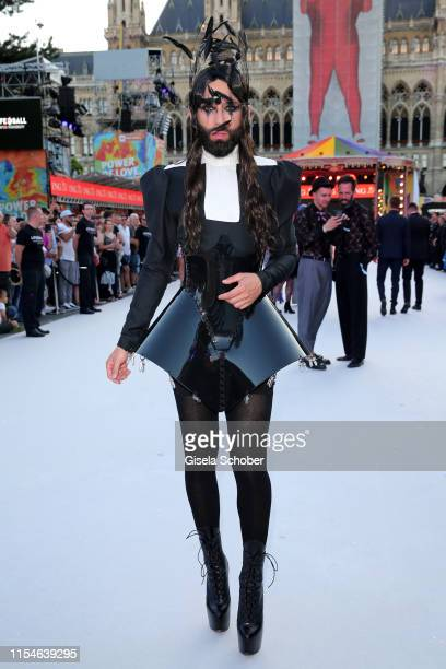 Conchita Wurst arrives for the Life Ball 2019 at City Hall on June 08, 2019 in Vienna, Austria. After 26 years the charity event Life Ball will take...