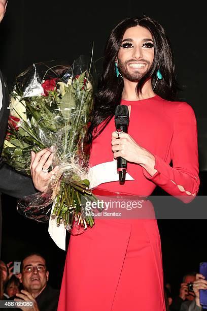 Conchita Wurst attends at the ViennaSphere at the Moll de la Fusta on March 18 2015 in Barcelona Spain