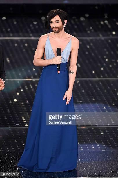 Conchita Wurst attends second night 65th Festival di Sanremo 2015 at Teatro Ariston on February 11, 2015 in Sanremo, Italy.