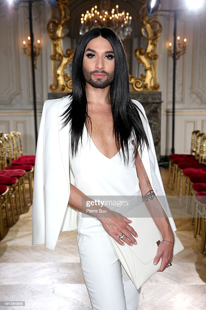 Conchita Wurst attends the Kaviar Gauche show as part of the Paris Fashion Week Womenswear Spring/Summer 2016 at Salon France-Ameriques on October 4, 2015 in Paris, France.