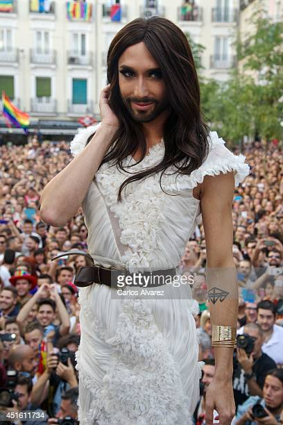 Conchita Wurst attends the MADO 2014 gay parade opening speech at the Chueca square on July 2 2014 in Madrid Spain