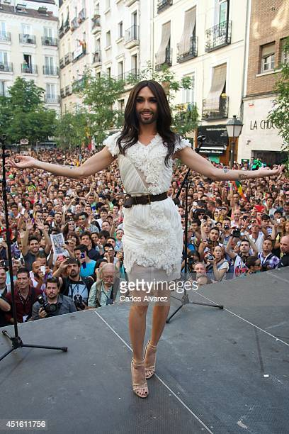 Conchita Wurst attends the MADO 2014 gay parade opening speech at the Chueca square on July 2, 2014 in Madrid, Spain.