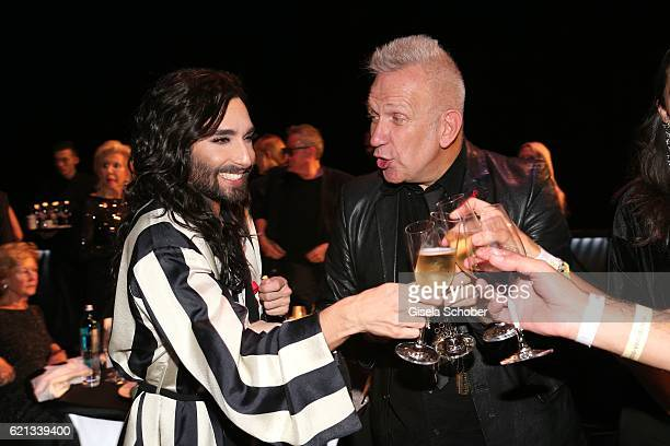 Conchita Wurst celebrates her birthday with Fashion Designer Jean Paul Gaultier during the aftershow party of the 23rd Opera Gala at Deutsche Oper...
