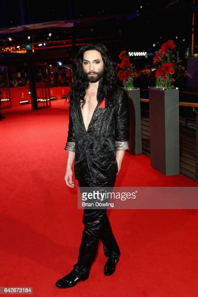 Conchita Wurst departs the closing ceremony of the 67th Berlinale International Film Festival Berlin at Berlinale Palace on February 18 2017 in...