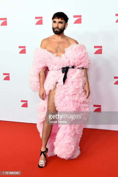 """Conchita Wurst during the premiere of the TV show """"Queen of Drags"""" at Zoo Palast on November 11, 2019 in Berlin, Germany."""