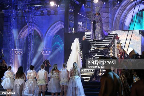 Conchita Wurst Herbert Foettinger Jonas Kaufmann on stage during the Life Ball 2018 show at City Hall on June 2 2018 in Vienna Austria The Life Ball...