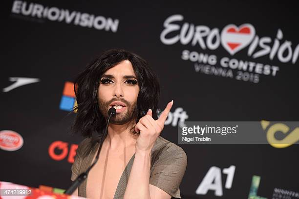 Conchita Wurst is pictured during a press conference ahead of the Eurovision Song Contest 2015 on May 21, 2015 in Vienna, Austria. The final of the...