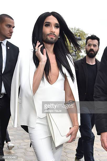 Conchita Wurst is seen arriving at Akris Fashio Show during Paris Fashion Week - Ready To Wear S/S 2016 : Day Six on October 4, 2015 in Paris, France.