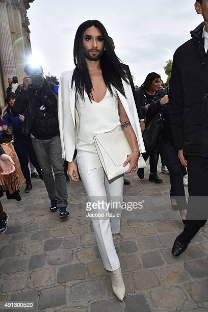 Conchita Wurst is seen arriving at Akris Fashio Show during Paris Fashion Week Ready To Wear S/S 2016 Day Six on October 4 2015 in Paris France