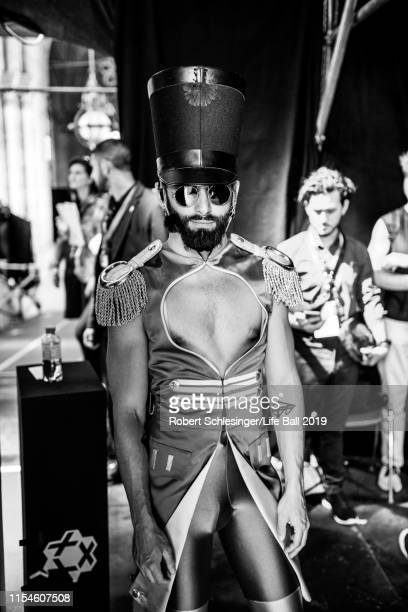 Conchita Wurst is seen backstage ahead the Life Ball 2019 at City Hall on June 08, 2019 in Vienna, Austria. After 26 years the charity event Life...