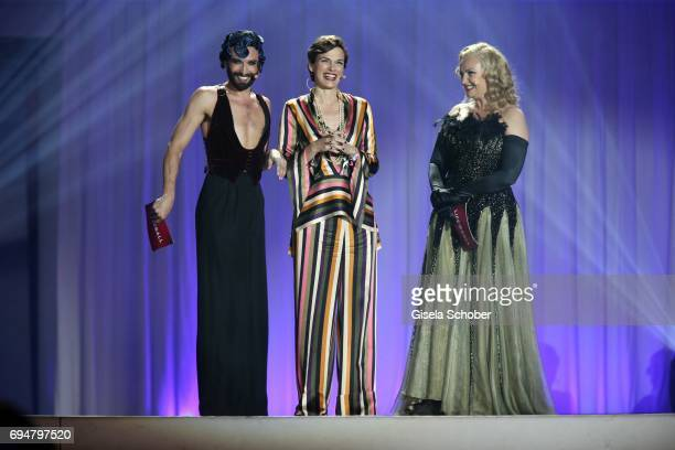 Conchita Wurst minister for family and health Pamela RendiWagner and Verena Scheitz during the Life Ball 2017 show at City Hall on June 10 2017 in...
