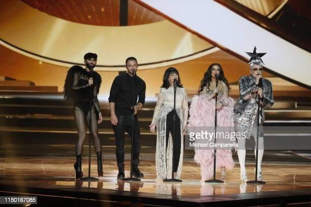 Conchita Wurst Måns Zelmerlöw Gali Atari Eleni Foureira and Vjerka Serdjučka perform live on stage during the 64th annual Eurovision Song Contest...