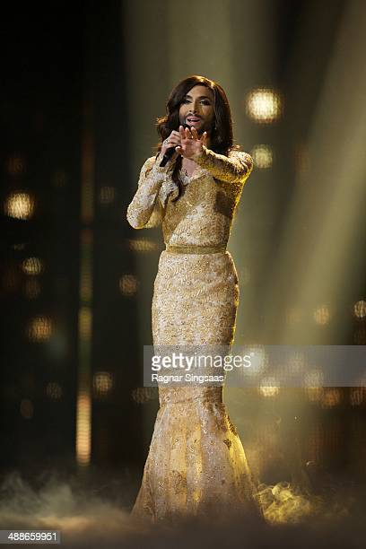 Conchita Wurst of Austria performs at a dress rehearsal the day before the second semi final of the Eurovision Song Contest on May 7, 2014 in...