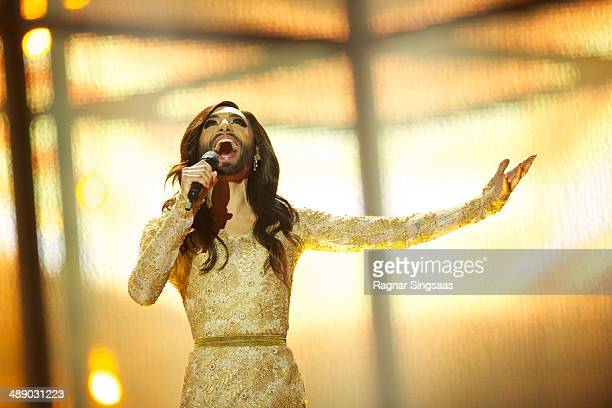Conchita Wurst of Austria performs during a dress rehearsal ahead of the Grand Final of the Eurovision Song Contest 2014 on May 9, 2014 in...