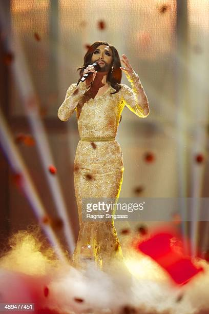 Conchita Wurst of Austria performs on stage after winning the Eurovision Song Contest 2014 on May 10, 2014 in Copenhagen, Denmark.