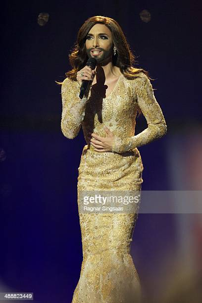 Conchita Wurst of Austria performs on stage during the second Semi Final of the Eurovision Song Contest 2014 on May 8, 2014 in Copenhagen, Denmark.