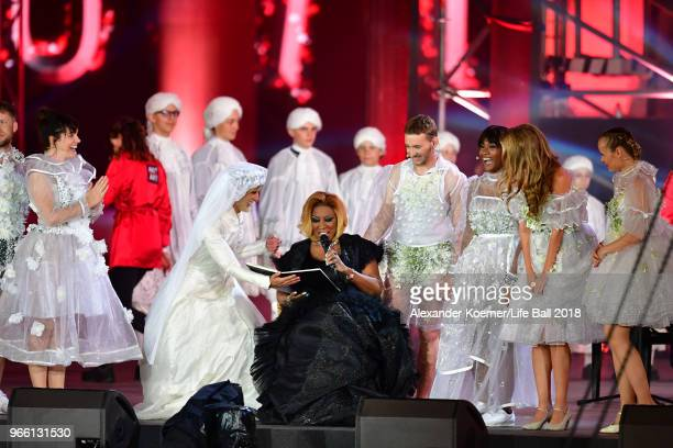 Conchita Wurst Patty LaBelle Nathan Trent and Rose Alaba perform on stage during the Life Ball 2018 show at City Hall on June 2 2018 in Vienna...