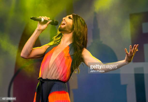Conchita Wurst performs during the annual Pride In London parade on June 28, 2014 in London, England.