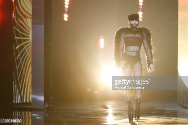 Conchita Wurst performs live on stage during the 64th annual Eurovision Song Contest held at Tel Aviv Fairgrounds on May 18 2019 in Tel Aviv Israel