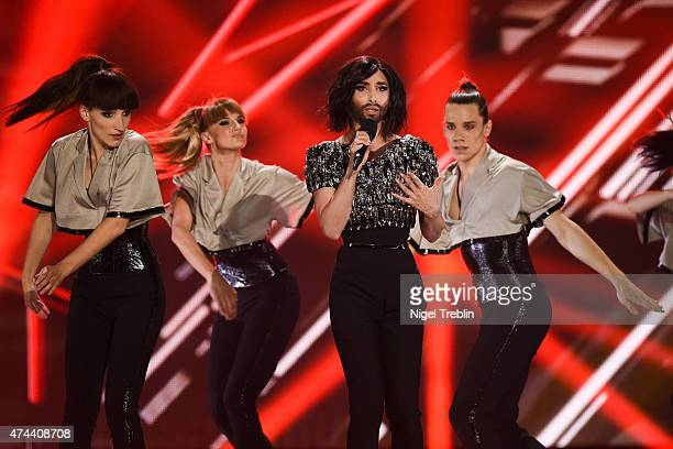 Conchita Wurst performs on stage during rehearsals for the final of the Eurovision Song Contest 2015 on May 22, 2015 in Vienna, Austria. The final of...