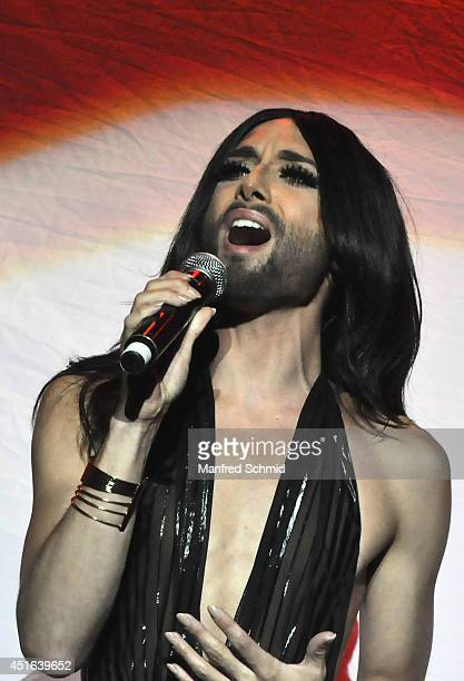 Conchita Wurst performs on stage during the Donauinselfest at Donauinsel on June 29 2014 in Vienna Austria The Danube Island Festival the largest...