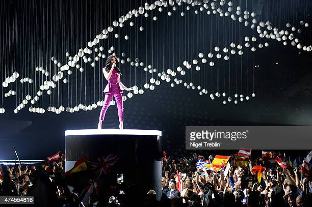 Conchita Wurst performs on stage during the final of the Eurovision Song Contest 2015 on May 23, 2015 in Vienna, Austria. The final of the Eurovision...