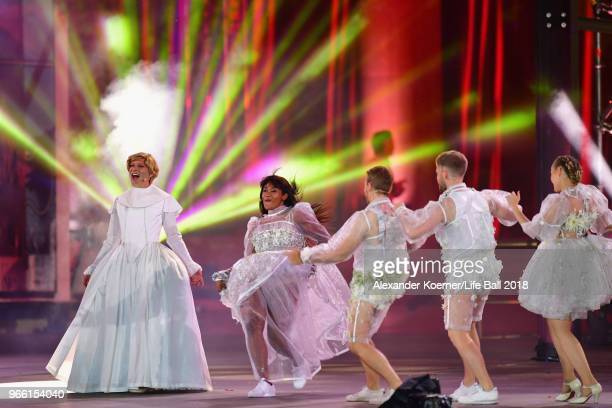 Conchita Wurst performs on stage during the Life Ball 2018 show at City Hall on June 2 2018 in Vienna Austria The Life Ball an annual charity event...