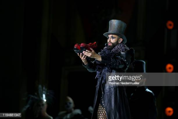 Conchita Wurst performs on stage during the Life Ball 2019 show at City Hall on June 08, 2019 in Vienna, Austria. After 26 years the charity event...