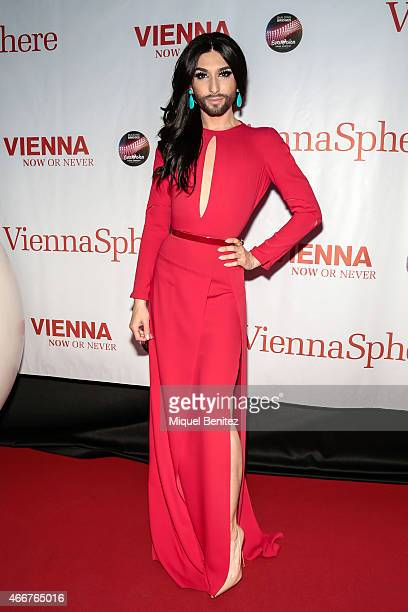 Conchita Wurst poses during a photocall for the ViennaSphere at the Moll de la Fusta on March 18, 2015 in Barcelona, Spain.