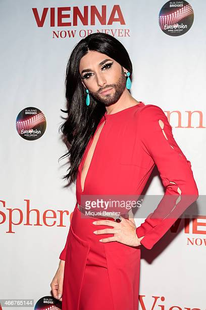 Conchita Wurst poses during a photocall for the ViennaSphere at the Moll de la Fusta on March 18 2015 in Barcelona Spain