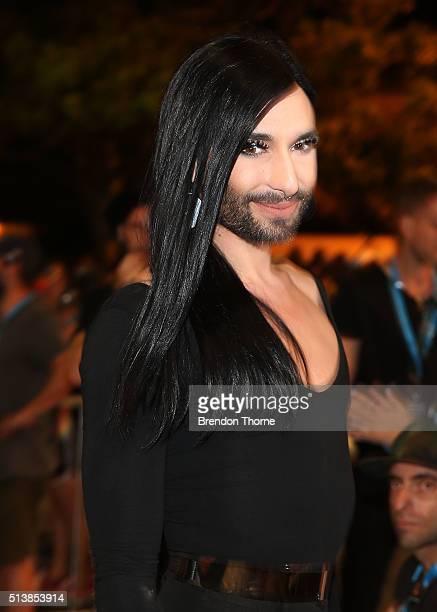 Conchita Wurst poses during the 2016 Sydney Gay Lesbian Mardi Gras Parade on March 5 2016 in Sydney Australia The Sydney Mardi Gras parade began in...