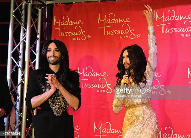 Conchita Wurst poses during the presentation of her wax figure at Madame Tussauds Vienna on May 12 2015 in Vienna Austria