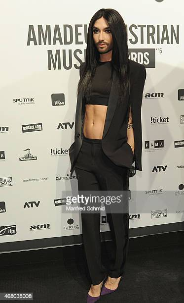 Conchita Wurst poses for a photograph during the Amadeus Austrian Music Awards 2015 at Volkstheater on March 29 2015 in Vienna Austria