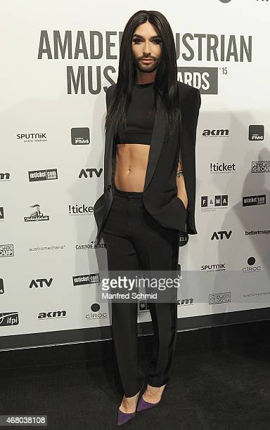 Conchita Wurst poses for a photograph during the Amadeus Austrian Music Awards 2015 at Volkstheater on March 29, 2015 in Vienna, Austria.