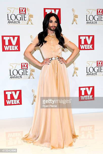 Conchita Wurst poses in the awards room at the 57th Annual Logie Awards at Crown Palladium on May 3 2015 in Melbourne Australia