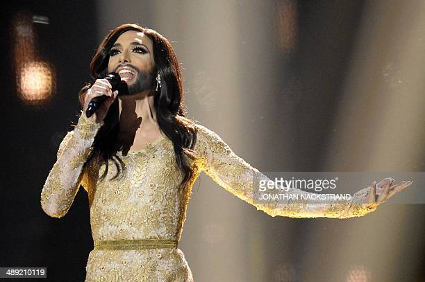 Conchita Wurst representing Austria performs during the Eurovision Song Contest 2014 Grand Final in Copenhagen Denmark on May 10 2014 AFP...