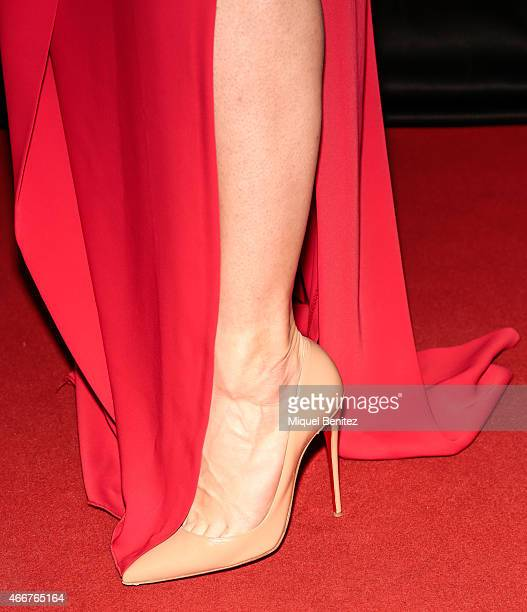 Conchita Wurst shoe detail poses during a photocall for the ViennaSphere at the Moll de la Fusta on March 18 2015 in Barcelona Spain