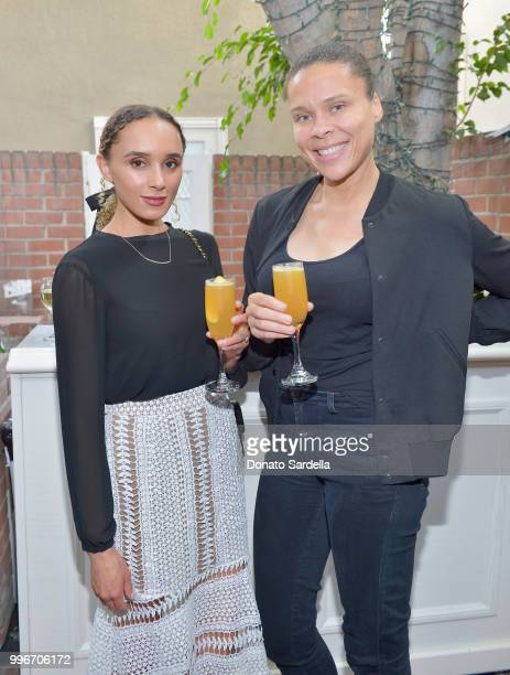 Concierge at VIOLET GREY Cassandra Caldwell and COO of VIOLET GREY Gila Jones attend Beats by Dre for VIOLET GREY Party on July 11 2018 in Los...