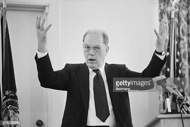 Concord New Hampshire Presidential hopeful Lyndon LaRouche gestures September 15 as he holds news conference here LaRouche called the Senate...