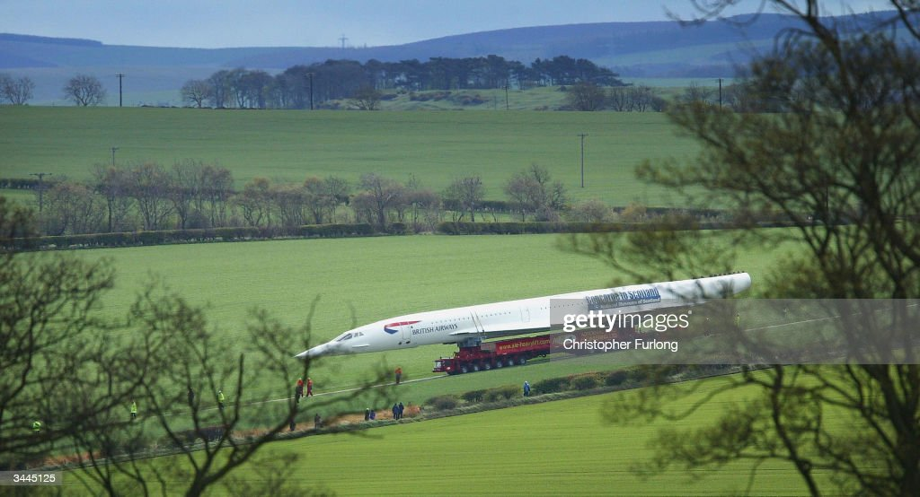 Concorde arrives at it's final destination at The Museum of Flight, April 19, 2004 in Edinburgh, Scotland. The last decommissioned Concorde G-BOAA arrived at its new home heralded by pipers after its long trek across country on a road specially built by the British Army.