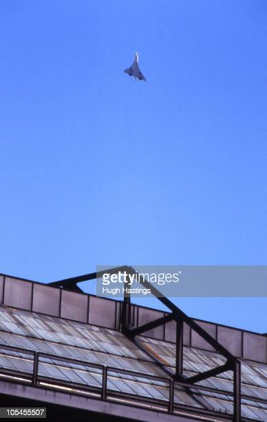 Concorde flies over the East Stand roof during the Canon League Division One match between Chelsea and Leicester City held on September 29 1984 at...