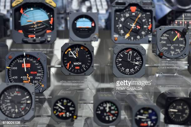 Concorde flight instruments are exhibited at the Saint Aubin Auction House in Toulouse on October 28 ahead of an auction of Concorde items / AFP /...