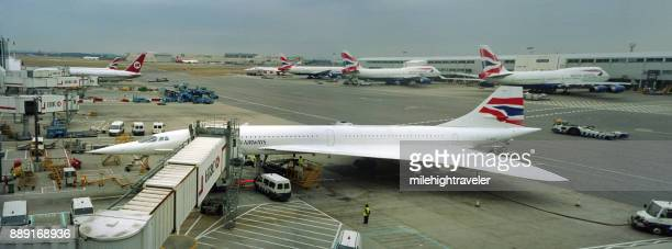 Concorde passenger jet airliner gate terminal Heathrow International Airport London England